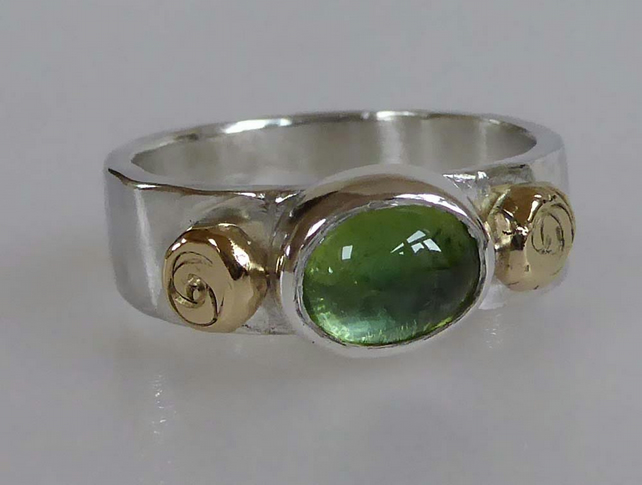 Green Tourmaline silver ring 18ct gold accents ready to ship size P