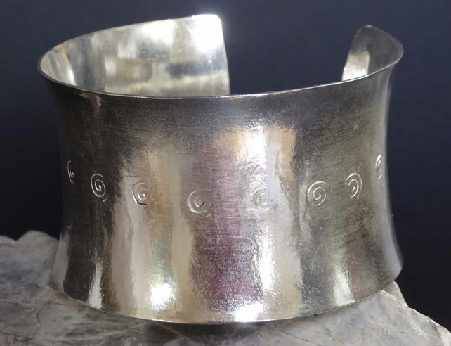 wide silver cuff bangle bracelet 40mm elegant statement cuff ready to ship boho
