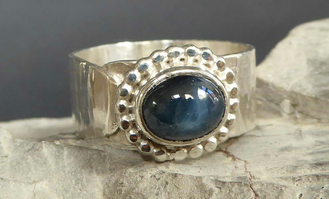 Blue Sapphire cabochon set in silver boho design Argentium silver band wide ring