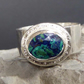 Azurite Malachite faceted cabochon set in silver, Argentium band size O