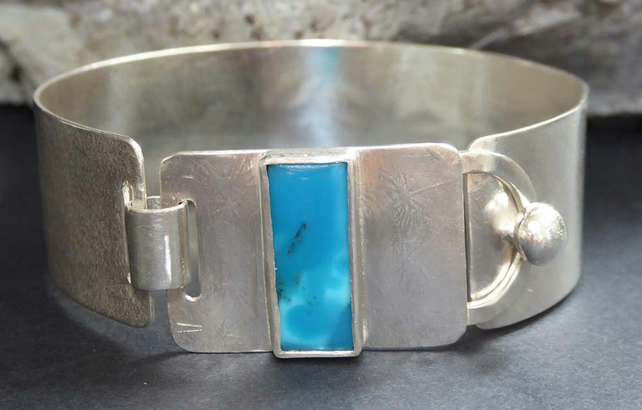 Silver cuff bracelet embossed flowers Turquoise OOAK s-m Reserved for G