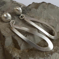 Forged silver earrings post and scroll satin finish studs clip on