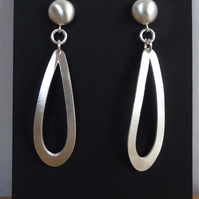 Forged silver earrings post and scroll satin finish studs