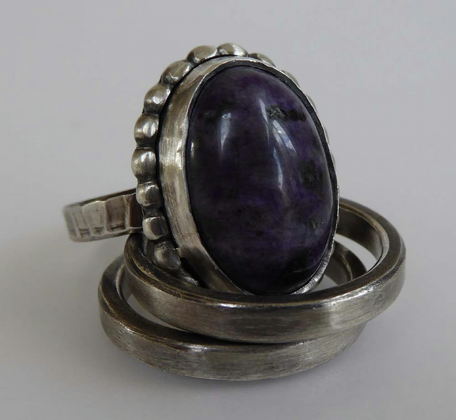 Purple Charoite artisan silver ring set of 3 rings size Q ready to ship