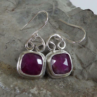 Pink Sapphire rose cut silver setting earrings