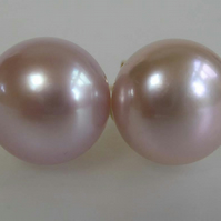 pink freshwater pearls 9ct gold post and scroll stud earrings