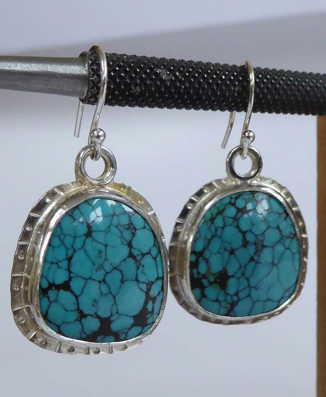 Turquoise silver earrings freeform shape silver ear wires