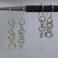 sterling silver earrings linked rings boho