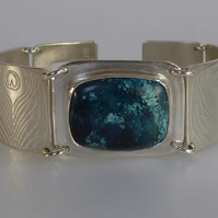 silver Azurite bracelet cuff ready to ship peacock feather design OOAK