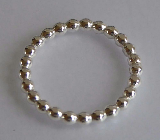sterling silver pearl wire ring size L stacking