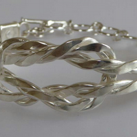 silver forged twisted wire cuff bracelet small medium
