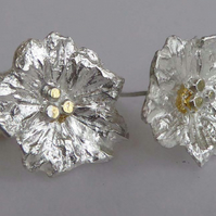 Silver flower earrings post & scroll studs cast from real flowers