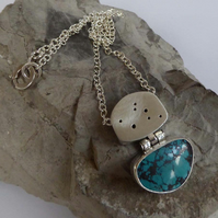 Turquoise and silver hollow form pendant silver chain boho artisan jewellery