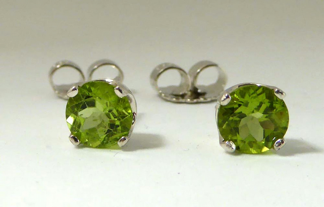 Peridot  Argentium silver post & scroll stud earrings