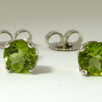 Peridot  Argentium post & scroll stud earrings