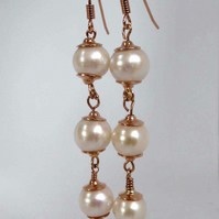 Rose gold silver freshwater pearl earrings long, lever back,wires, clip on, hoop