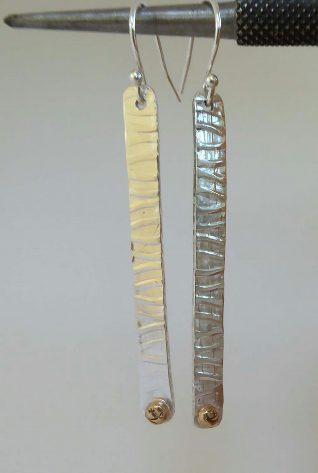 Silver and 14ct gold long patterned earrings hallmarked boho earrings