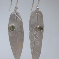 silver and green sapphire leaf earrings