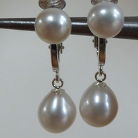 Sterling silver clip on pearl earrings