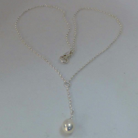 Freshwater pearl silver chain pendant Valentine gift bridal jewellery