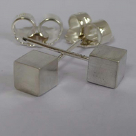 sterling silver cube earrings post and scroll studs 5mm