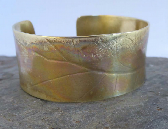 Brass open cuff Oak leaf or Butterflies design 1mm thick small medium