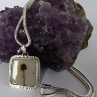 Dendrite Quartz silver pendant artisan OOAK snake chain in various lengths