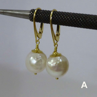 Baroque pearls on V wires gold vermeil over silver, white creamy freshwater