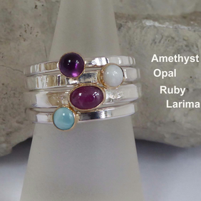 Silver and 18ct gold gemstone skinny ring stacking size O Amethyst Opal Garnet