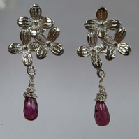Garnet and sterling silver flower post and scroll earrings studs