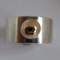 Silver and 9ct gold heavy wide ring size O ready to ship statement ring OOAK