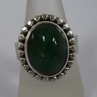 Green Emerald and silver statement ring size T May birthsone