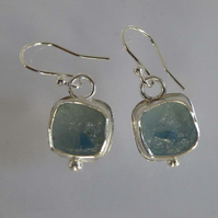 Drusy Chalcedony silver earrings dangle and drop silver