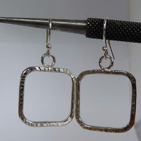 Sterling silver square earrings standard ear wires