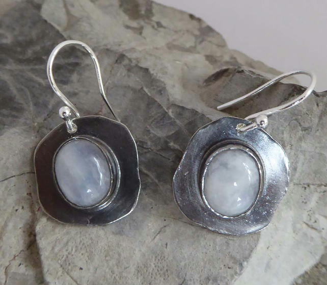 Rainbow Moonstone silver earrings artisan dark silver oxidised