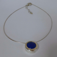 Blue Lapis Lazuli silver slider pendant choice of silver chains elegant design