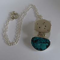 Turquoise and silver hollow form pendant silver chain gift for her