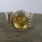 Golden Rutilated Quartz and 24ct gold wide silver ring ready to ship size T