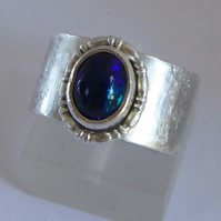 Blue flash Welo Opal wide silver band ring size O  October birthstone