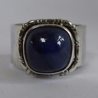 Sapphire & silver statement ring ooak September birthstone size Q