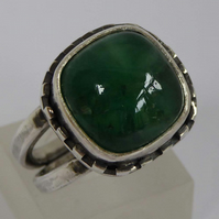 Emerald and silver statement ring size O May birthstone