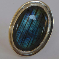 Blue Labradorite sterling silver statement ring size Q and a half FREE SHIPPING