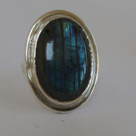 Blue flash Labradorite statement ring size Q and a half