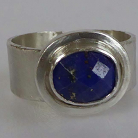 Adjustable silver blue Lapis ring size P, 8