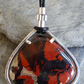 Red Jasper pendant silver setting leather cord