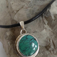 Turquoise pendant silver setting leather thong Boho pendant