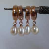 White freshwater pearls rose gold vermeil lever back hoop earrings