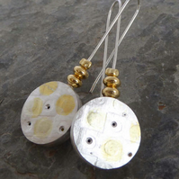 Sterling silver hollowform earrings and gold vermeil dangle and drop boho style
