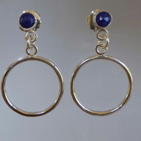 Blue Lapis Lazuli silver boho hoop earrings post and scroll studs