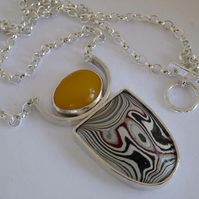Fordite Detroit Agate Amber silver pendant ooak ready to ship FREE SHIPPING
